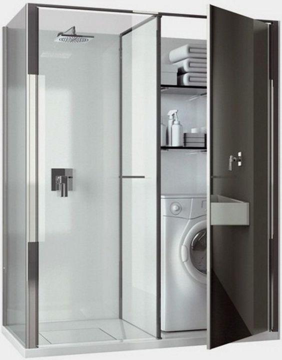 Zabudowa pralki w azience galeria 15 pomys w - Estantes para interior ducha ...
