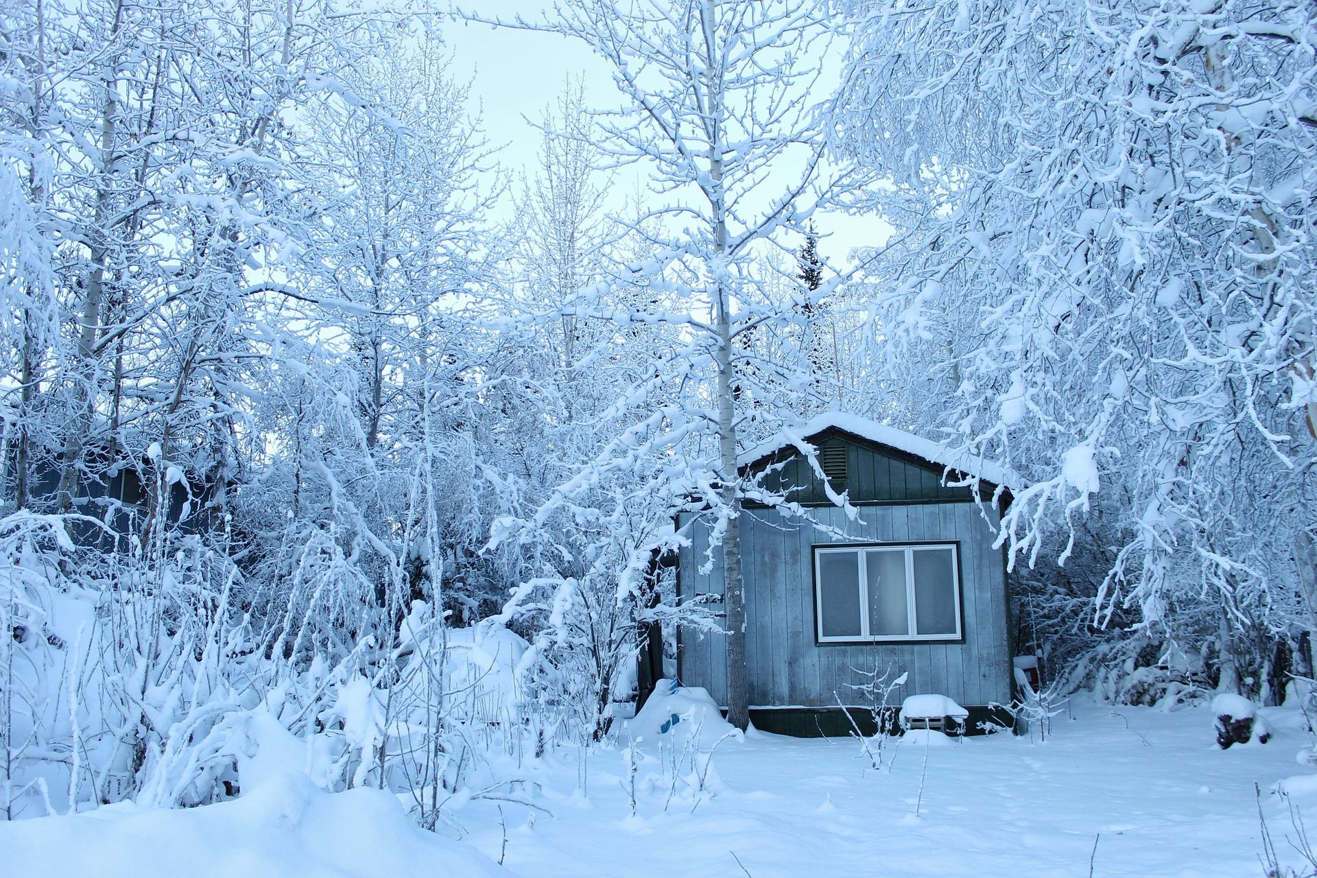 Dom letniskowy w zimie